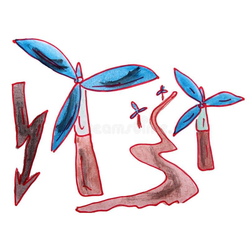 Bande dessinée d'énergie éolienne d'aquarelle d'enfants de dessin dessus illustration libre de droits