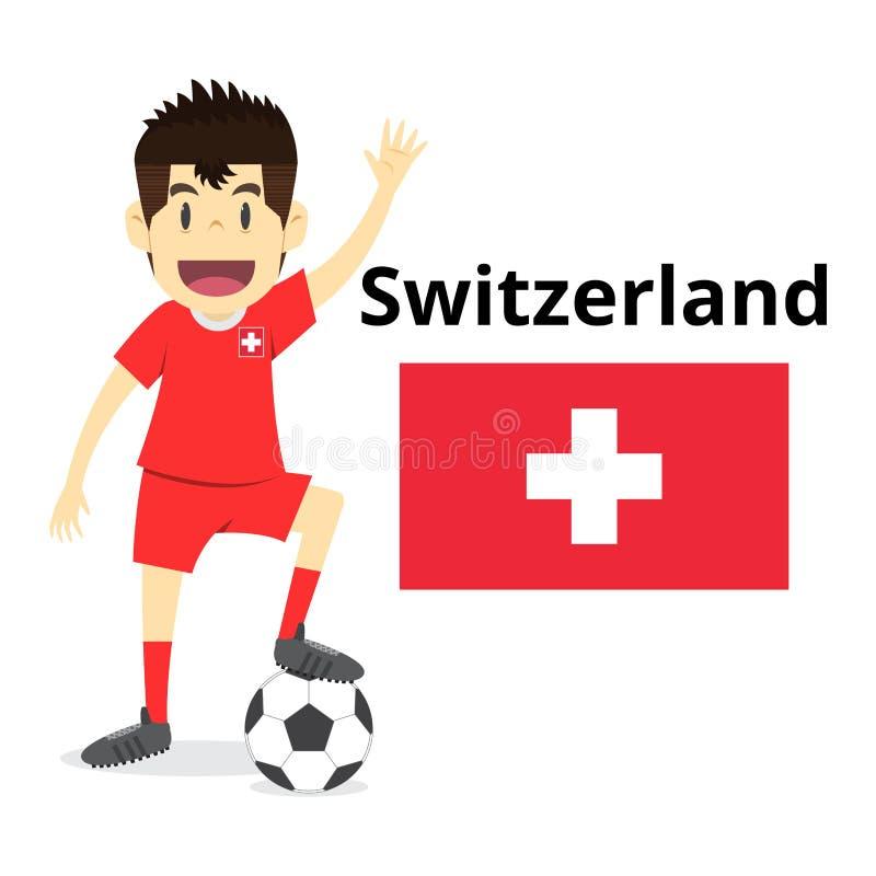 Bande dessinée d'équipe de nation de la Suisse, monde du football, drapeaux de pays 20 illustration de vecteur