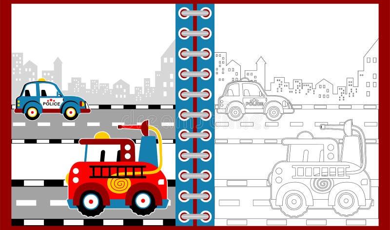Bande dessinée d'équipe de secours, livre de coloriage/page illustration de vecteur