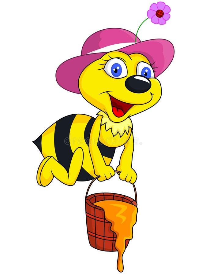 Bande dessinée d'abeille avec la position de miel illustration libre de droits