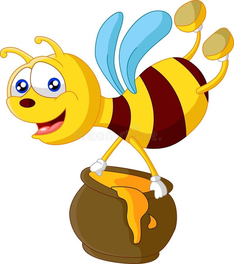 Bande dessinée d'abeille tenant le seau de miel illustration libre de droits