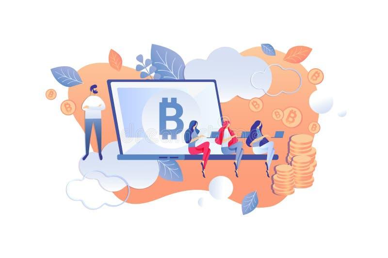 Bande dessinée d'analyse d'échelle d'exploitation de Cryptocurrency illustration de vecteur