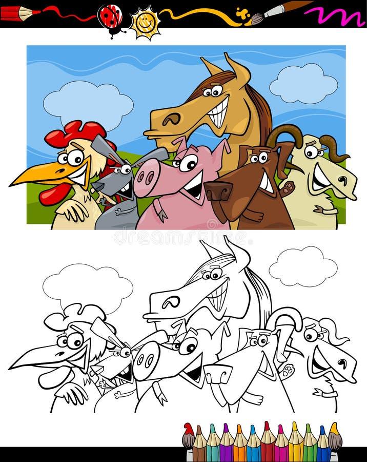 Bande dessinée d'animaux de ferme pour livre de coloriage illustration de vecteur
