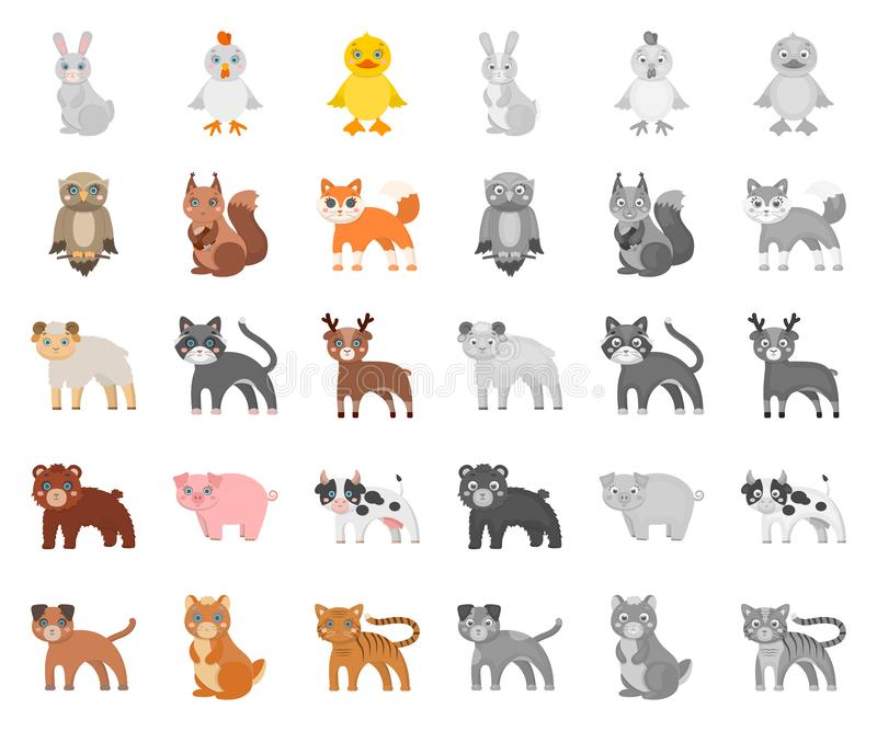 Bande dessinée d'animaux de jouet, icônes mono dans la collection réglée pour la conception L'oiseau, le prédateur et l'herbivore illustration stock