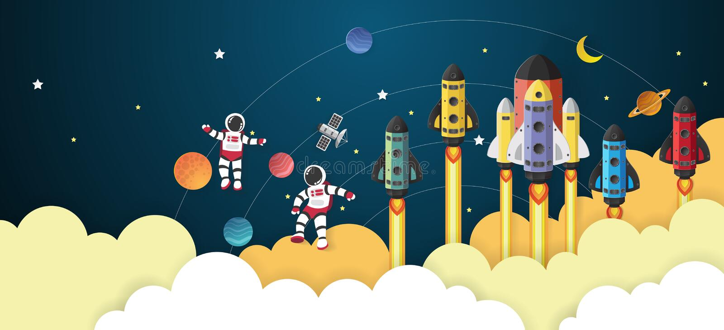 Bande dessinée d'astronaute avec un vaisseau spatial dans l'espace illustration de vecteur