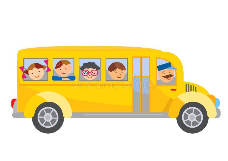 Bande dessinée d'autobus scolaire illustration de vecteur