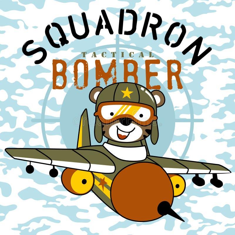 bande dessinée d'avion de chasse avec le pilote mignon illustration de vecteur