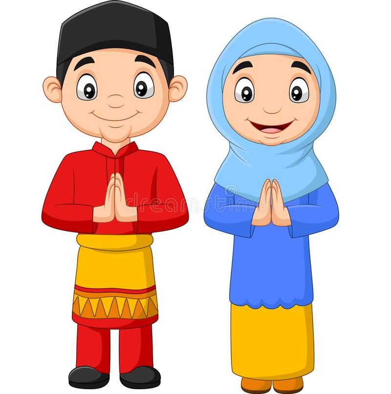 Bande dessinée d'enfants musulmans heureux sur fond blanc illustration de vecteur