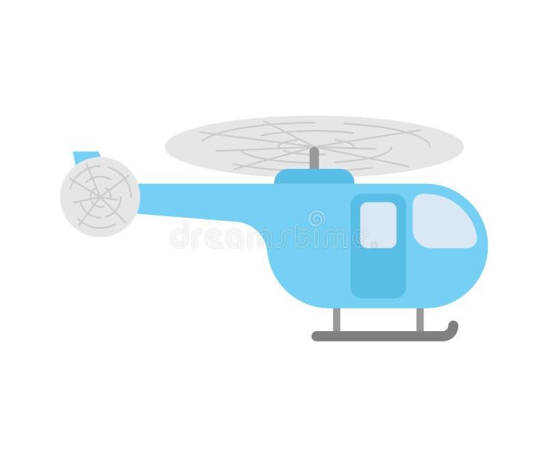 Bande dessinée d'hélicoptère d'isolement Transport de Chopper Flying avec le prope illustration stock