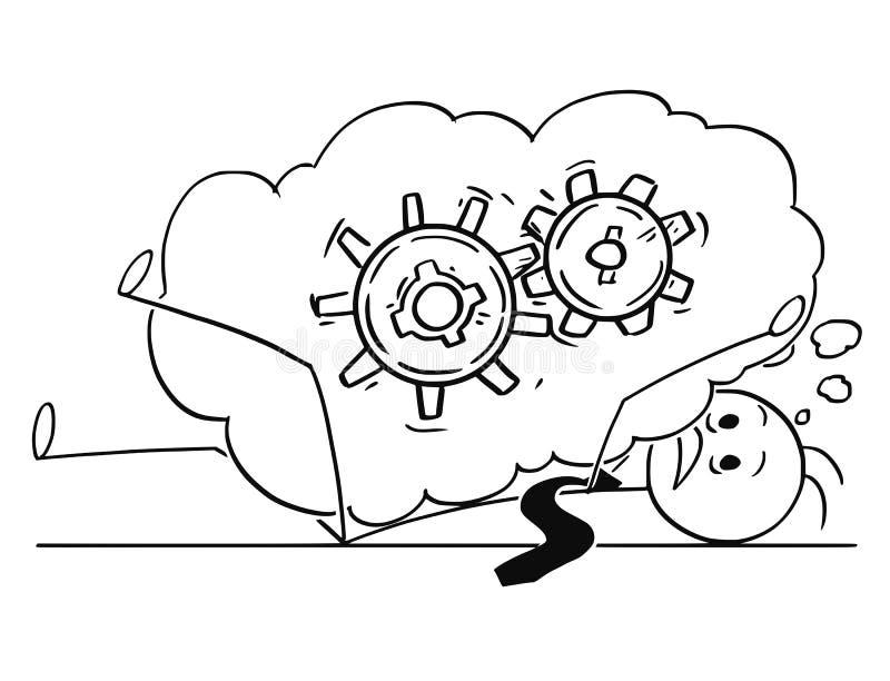 Bande dessinée d'homme d'affaires Buried par problème qu'il pense environ illustration de vecteur