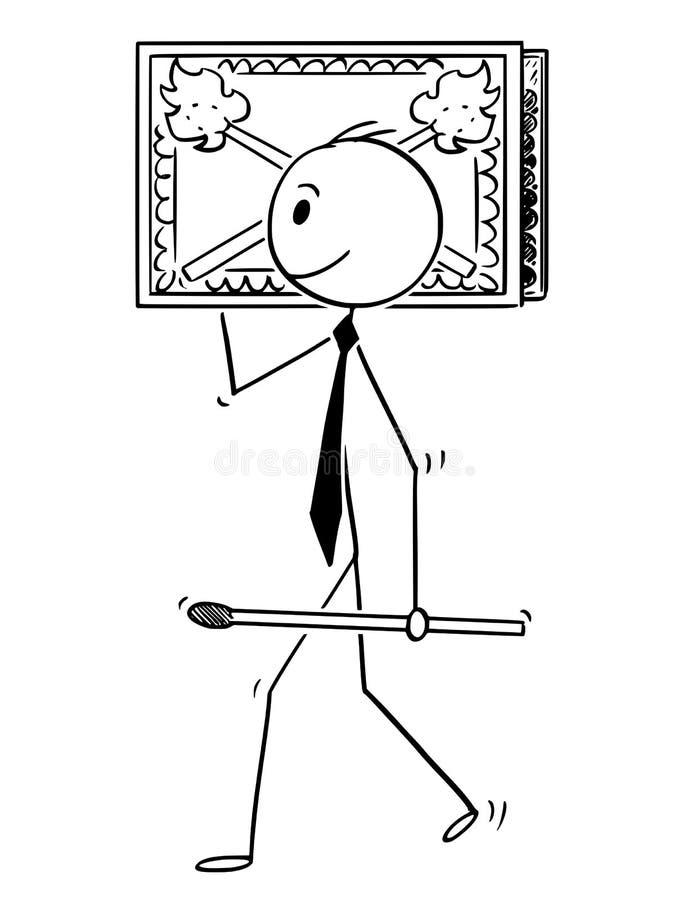Bande dessinée d'homme d'affaires Carry Big Box des matchs ou de la boîte d'allumettes illustration libre de droits