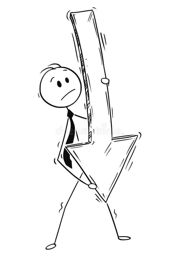 Bande dessinée d'homme d'affaires Carrying Big et de flèche vers le bas de pointage lourde illustration stock
