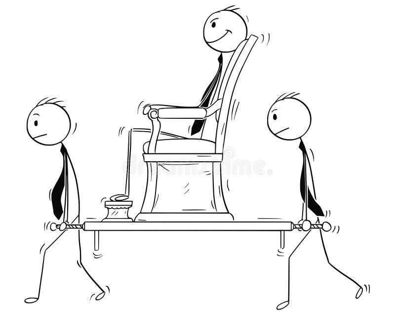 Bande dessinée d'homme d'affaires, directeur ou patron Sitting dans la chaise de berline et porté par deux subalternes illustration libre de droits