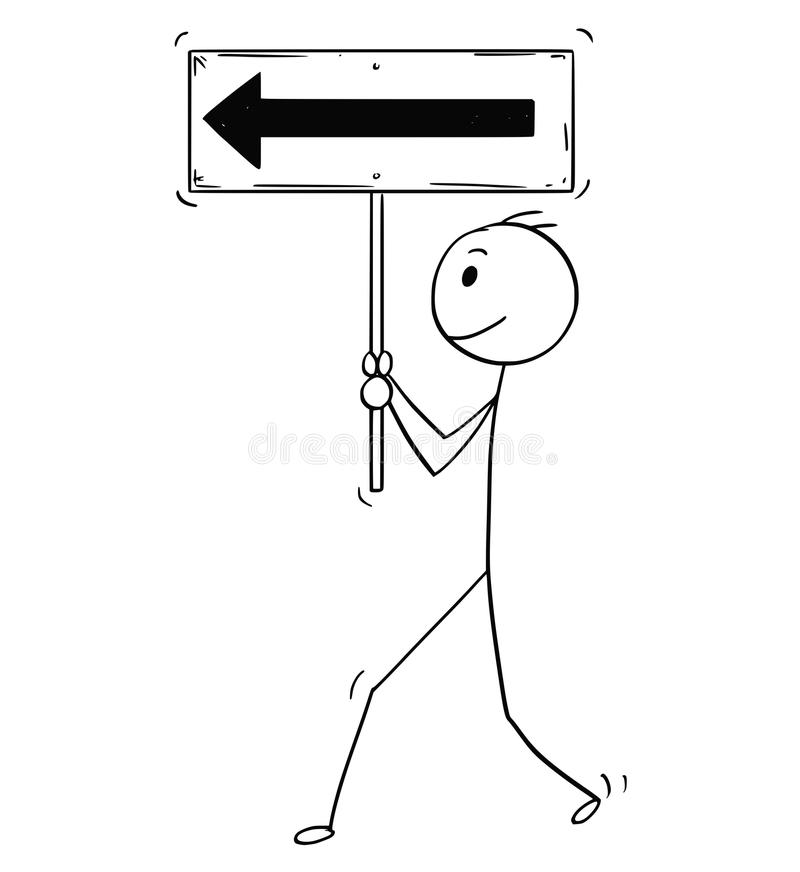 Bande dessinée d'homme d'affaires motivé Walking Forward et tenir le signe de flèche illustration de vecteur