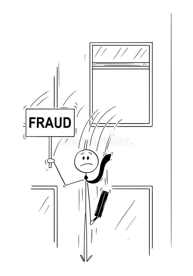 Bande dessinée d'homme d'affaires ou banquier Jumping Out de la fenêtre avec le signe de crise illustration libre de droits