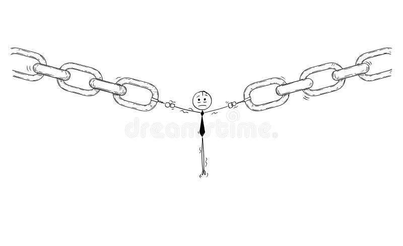 Bande dessinée d'homme d'affaires ou utilisateur ou employé comme lien le plus faible de chaîne illustration libre de droits