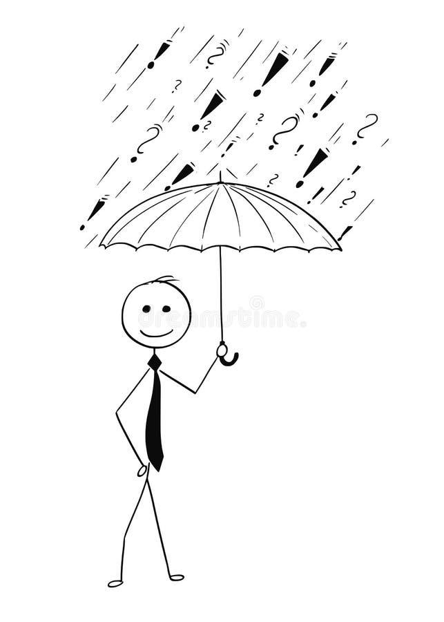 Bande dessinée d'homme d'affaires tenant le parapluie illustration stock