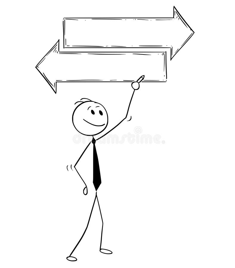Bande dessinée d'homme d'affaires Writing sur le signe vide vide de flèche de décision des textes illustration de vecteur