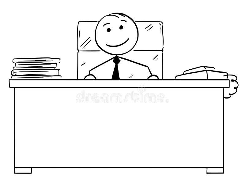 Bande dessinée d'homme de bâton de vecteur de bon patron heureux Smiling illustration stock