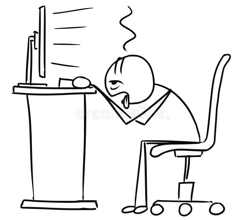 Bande dessinée d'homme de bâton de vecteur de COM très fatiguée et surchargée de bureau illustration de vecteur