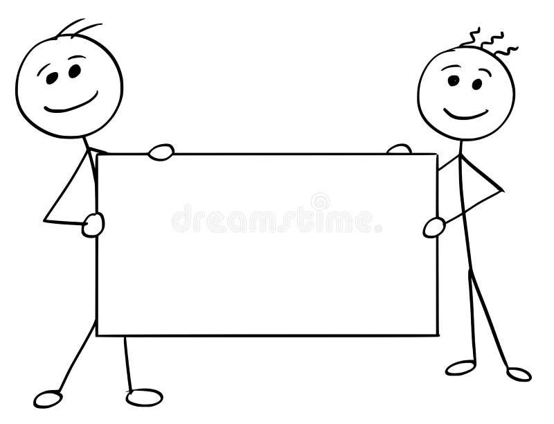 Bande dessinée d'homme de bâton de vecteur de deux hommes tenant un grand signe vide illustration de vecteur