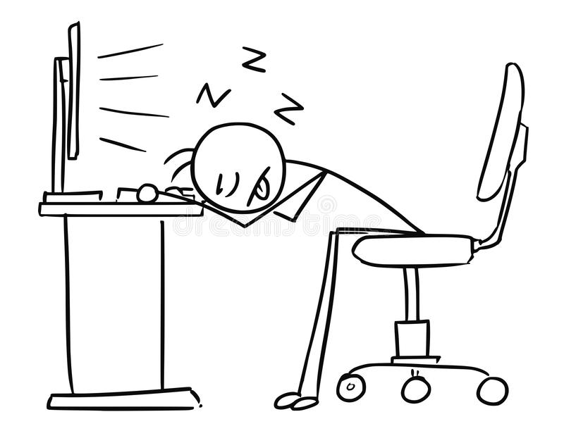 Bande dessinée d'homme de bâton de vecteur de l'homme dormant avec la tête sur le bureau illustration stock