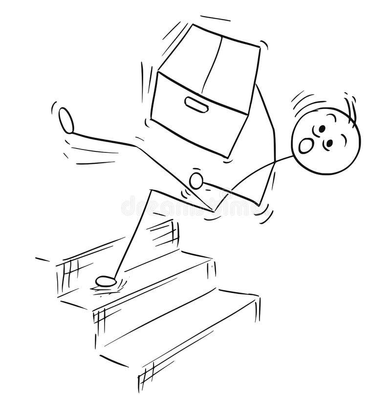 Bande dessinée d'homme de bâton de vecteur de l'homme tombant de l'escalier d'escaliers illustration libre de droits