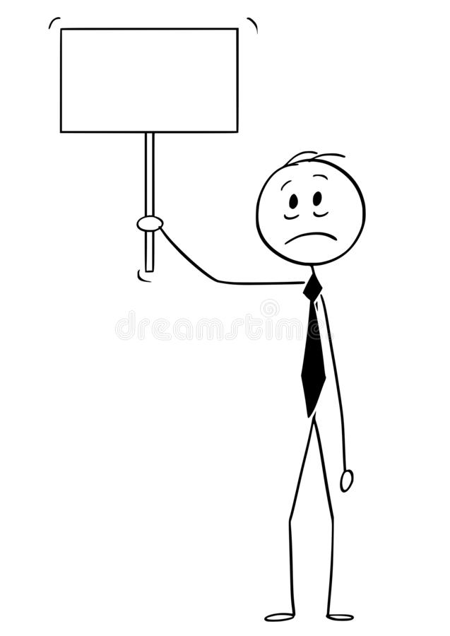 Bande dessinée d'homme, de banquier ou d'homme d'affaires triste ou déprimé Holding Empty Sign illustration libre de droits
