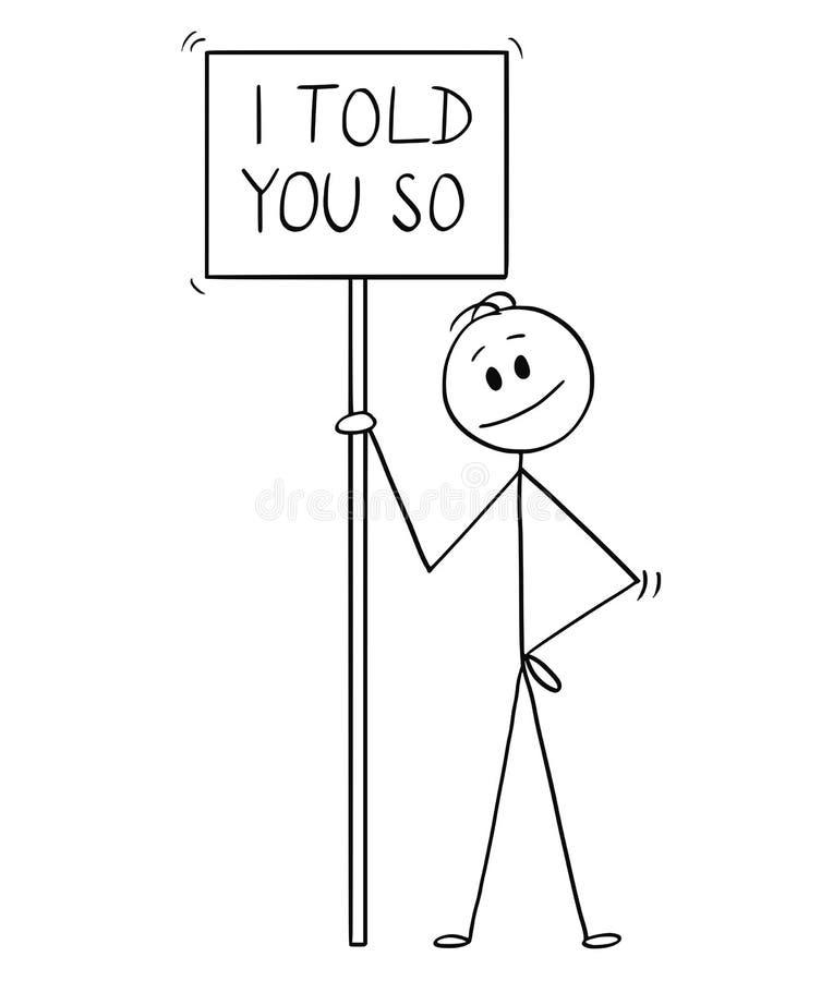 Bande dessinée d'homme de sourire tenant le signe avec moi vous ai dit ainsi de textoter illustration stock