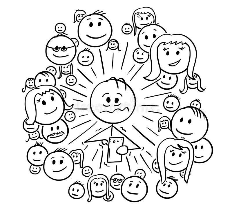 Bande dessinée d'homme frustrant et de ses connexions réseau sociales illustration de vecteur