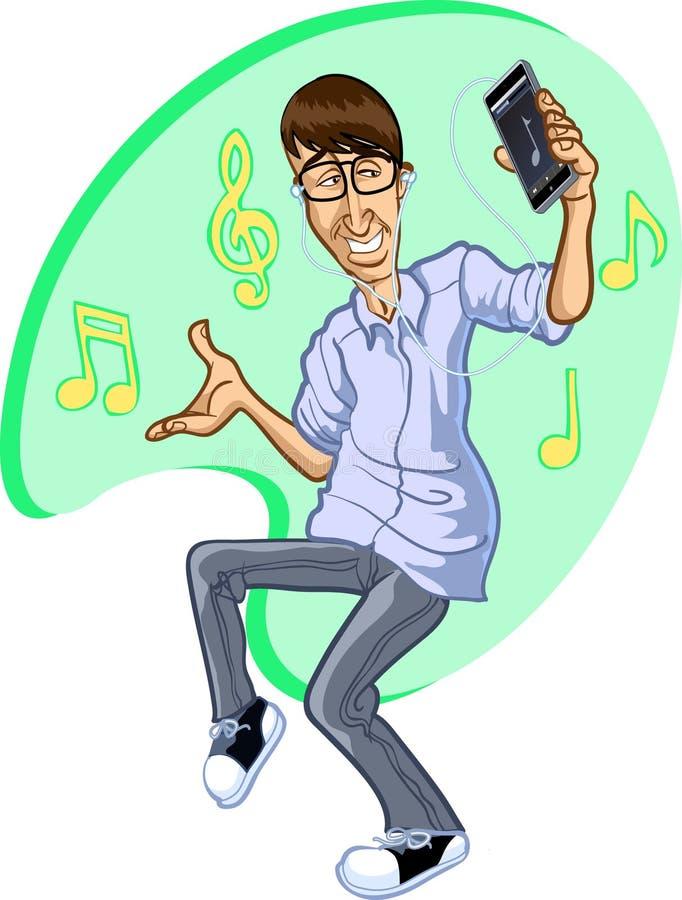 Bande dessinée d'homme heureux dansant en musique sur l'iPhone images libres de droits