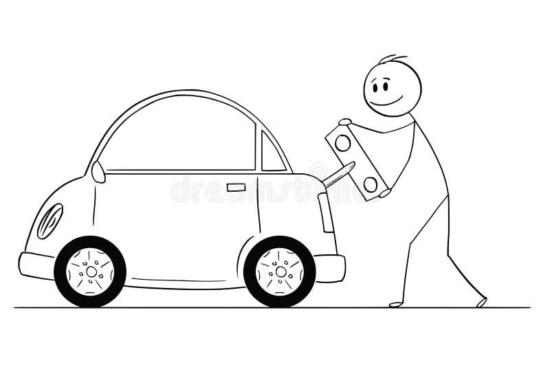 Bande dessinée d'homme heureux s'enroulant ou de voiture électrique de remplissage par Toy Key illustration libre de droits