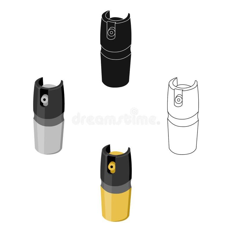 Bande dessinée d'icône de boîte métallique de gaz Icône simple d'arme des grandes munitions, bras réglés illustration de vecteur