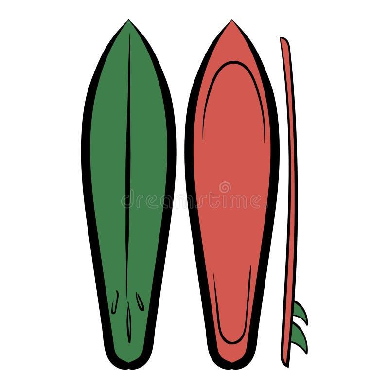 Bande dessinée d'icône de planches de surf illustration stock