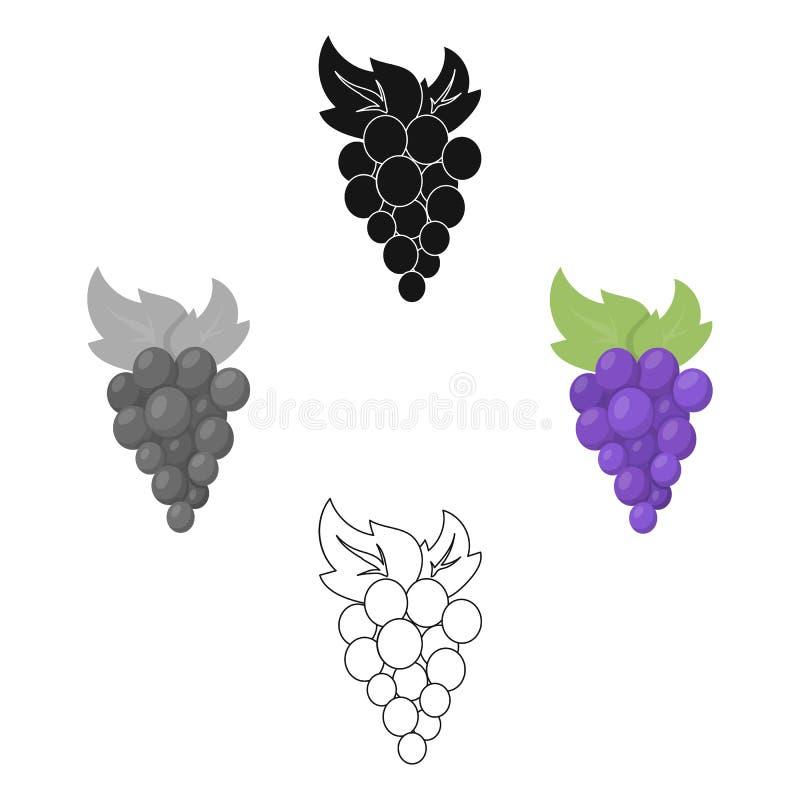 Bande dessinée d'icône de raisins Icône de fruit de légère brûlure de la bande dessinée de nourriture illustration libre de droits