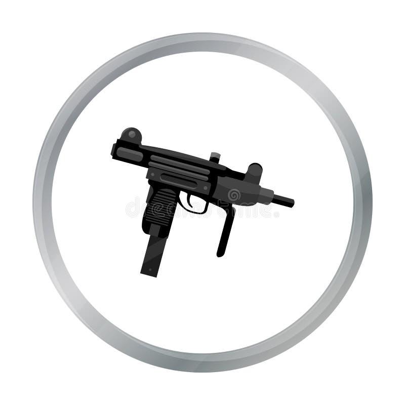 Bande dessinée d'icône d'arme d'UZI Icône simple d'arme des grandes munitions, bras réglés illustration stock