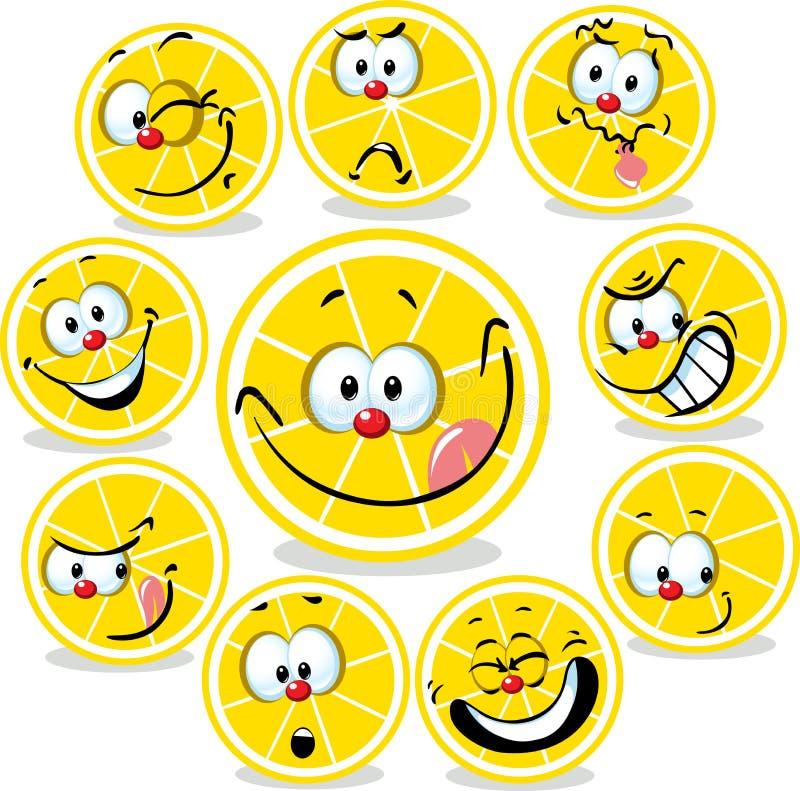 Bande dessinée d'icône de citron avec les visages drôles illustration libre de droits
