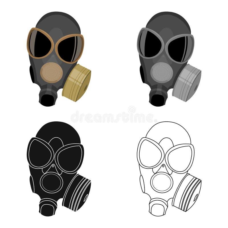 Bande dessinée d'icône de masques de gaz Icône simple d'arme des grandes munitions, bras réglés illustration libre de droits