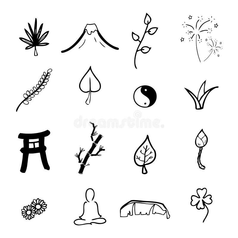 Bande dessinée d'icônes de zen et de station thermale illustration stock