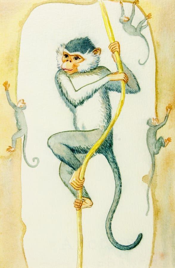 Bande dessinée d'illustration d'aquarelle belle d'exposition et de l'action de singe illustration stock