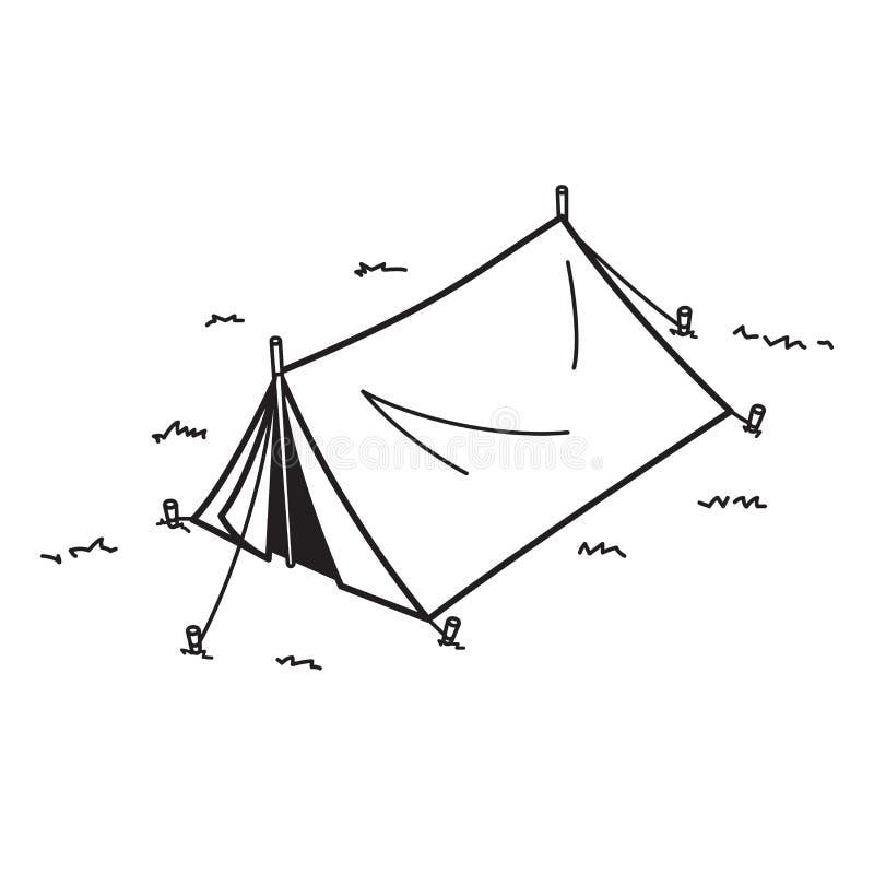 Bande dessinée d'illustration de pique-nique d'icône de logo de vecteur de tente de camping illustration libre de droits