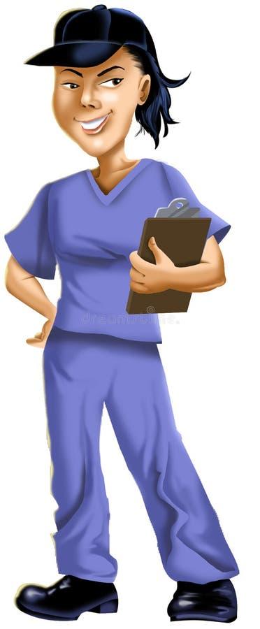 Bande dessinée d'infirmière dans le chapeau photographie stock