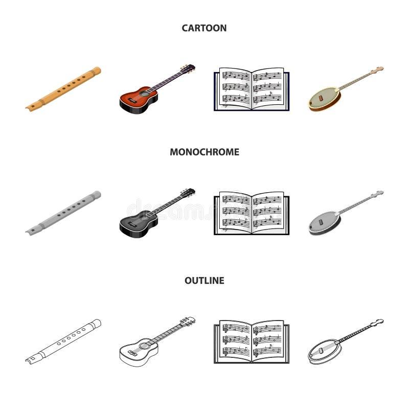Bande dessinée d'instrument de musique, contour, icônes monochromes dans la collection d'ensemble pour la conception Instrument d illustration stock