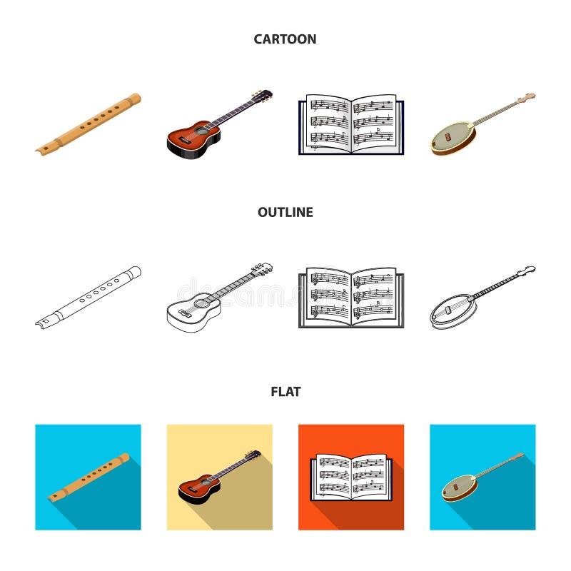 Bande dessinée d'instrument de musique, contour, icônes plates dans la collection d'ensemble pour la conception Vecteur isométriq illustration libre de droits
