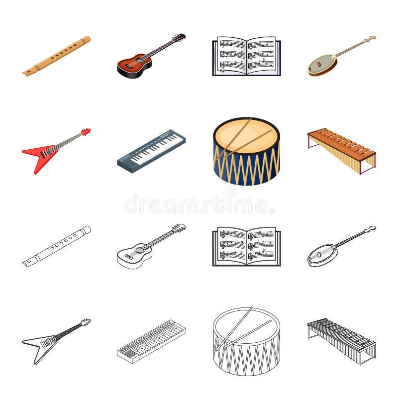 Bande dessinée d'instrument de musique, icônes d'ensemble dans la collection d'ensemble pour la conception Vecteur isométrique d' illustration de vecteur