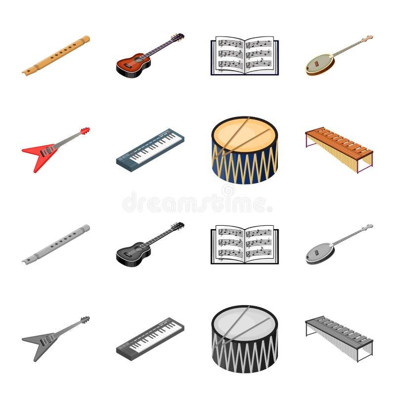 Bande dessinée d'instrument de musique, icônes monochromes dans la collection d'ensemble pour la conception Vecteur isométrique d illustration de vecteur