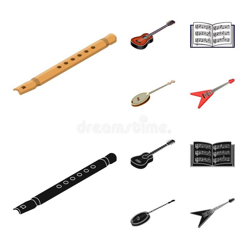 Bande dessinée d'instrument de musique, icônes noires dans la collection d'ensemble pour la conception Symbole isométrique de vec illustration stock