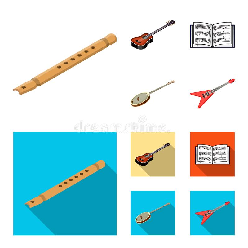 Bande dessinée d'instrument de musique, icônes plates dans la collection d'ensemble pour la conception Symbole isométrique de vec illustration stock