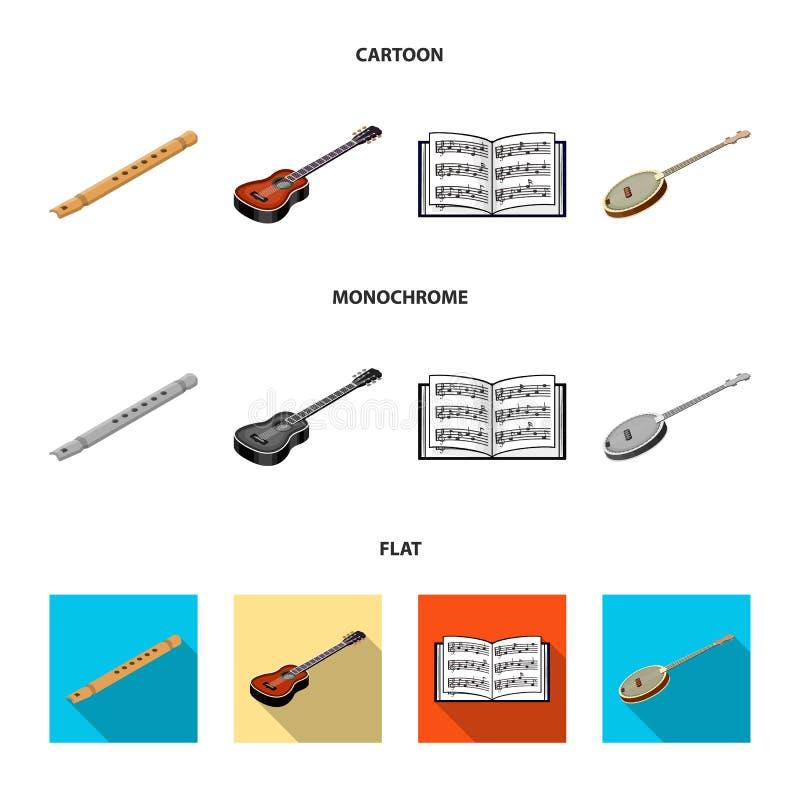 Bande dessinée d'instrument de musique, icônes plates et monochromes dans la collection d'ensemble pour la conception Instrument  illustration de vecteur