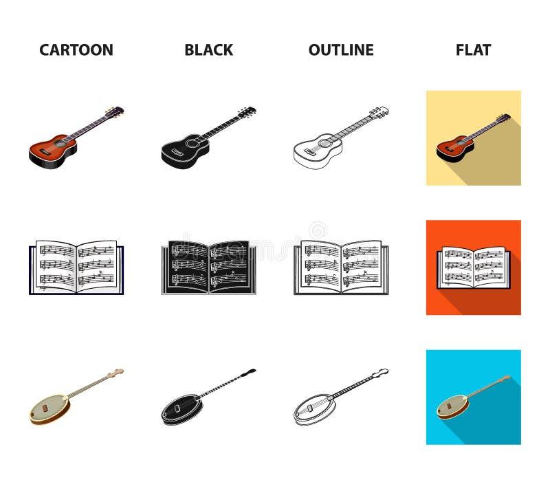 Bande dessinée d'instrument de musique, noir, contour, icônes plates dans la collection d'ensemble pour la conception Instrument  illustration libre de droits